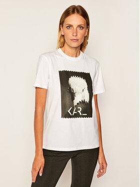KARL LAGERFELD KARL LAGERFELD T-Shirt Legend Print 205W1718 Bílá Regular Fit