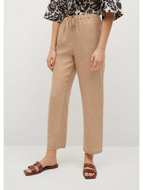 Mango Mango Spodnie materiałowe Linen 87047878 Brązowy Regular Fit