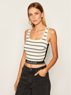 Calvin Klein Jeans Calvin Klein Jeans Топ J20J214149 Бял Slim Fit