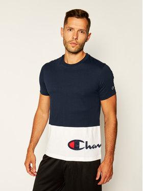 Champion Champion T-Shirt Colour Block Warparound Logo 214208 Tmavomodrá Comfort Fit