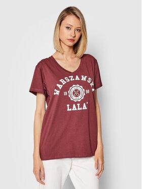 PLNY LALA PLNY LALA T-Shirt Warszawska Lala PL-KO-VN-00190 Dunkelrot Relaxed Fit