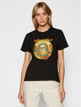 Wrangler Wrangler T-Shirt High Rib W7N9GHXVD Czarny Regular Fit