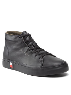 Tommy Hilfiger Tommy Hilfiger Sportcipő Corporate High Modern Vulc Lea FM0FM03740 Fekete