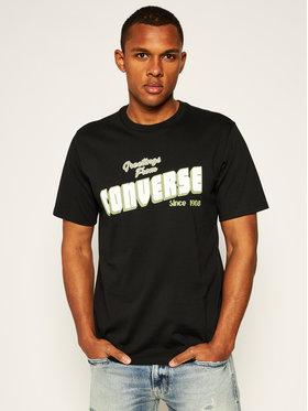 Converse Converse T-Shirt Greetings 10019604-A02 Czarny Regular Fit