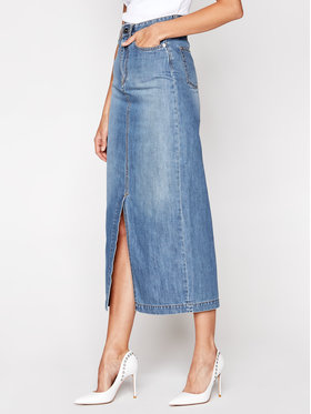 Victoria Victoria Beckham Victoria Victoria Beckham Spódnica jeansowa Front Split Denim 2420DSK002098A Niebieski Regular Fit