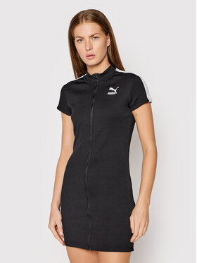 Puma Puma Φόρεμα υφασμάτινο Classics Tight Ribbed 597647 Μαύρο Slim Fit