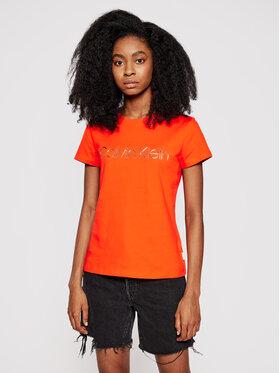 Calvin Klein Calvin Klein Tričko Metallic Logo K20K201852 Oranžová Slim Fit
