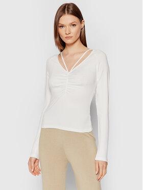 NA-KD NA-KD Bluzka Neck Detail 1100-004244-4070-003 Biały Slim Fit