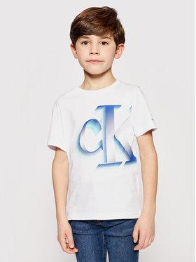 Calvin Klein Jeans Calvin Klein Jeans Tričko Pixelated Monogram IB0IB00850 Biela Regular Fit