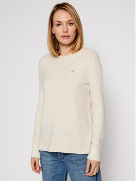 Calvin Klein Calvin Klein Svetr Ls Fluffy Crew Neck K20K202251 Béžová Regular Fit