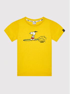 Puma Puma T-Shirt PEANUTS Tee 599457 Żółty Regular Fit