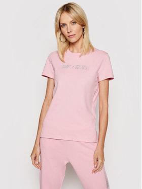 KARL LAGERFELD KARL LAGERFELD Marškinėliai Rhinestone Logo 211W1706 Rožinė Regular Fit