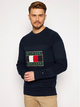TOMMY HILFIGER TOMMY HILFIGER Sweter Iconic Graphic MW0MW15453 Granatowy Regular Fit