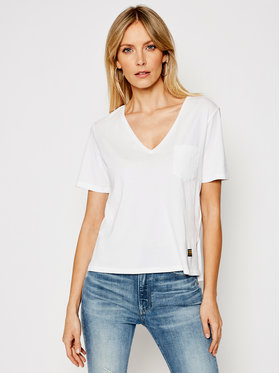 G-Star Raw G-Star Raw T-Shirt Core Ovvela V T D172580-4107-110 Biały Regular Fit