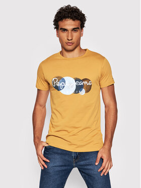 Pepe Jeans Pepe Jeans T-Shirt Sacha PM507860 Żółty Regular Fit