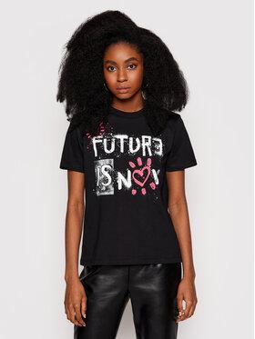 Desigual Desigual Marškinėliai Future Is Now 21SWTKDB Juoda Regular Fit