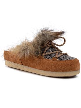 Moon Boot Moon Boot Pantofole Far Side Sabot Faux Fox Fur 242013001 Marrone