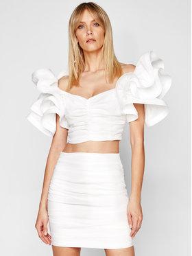 Elisabetta Franchi Elisabetta Franchi Σετ μπλουζάκι και φούστα TG-003-11E2-V470 Λευκό Slim Fit