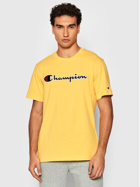Champion Champion T-Shirt Script Logo 216473 Żółty Comfort Fit