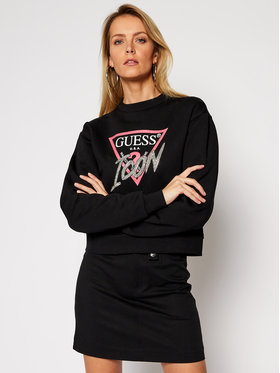 Guess Guess Pulóver Icon Fleece W1RQ04 K68I0 Fekete Regular Fit
