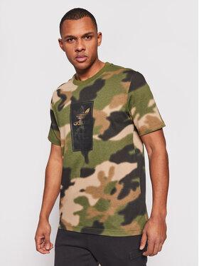 adidas adidas T-Shirt Camo Tongue Label GN1863 Zielony Regular Fit