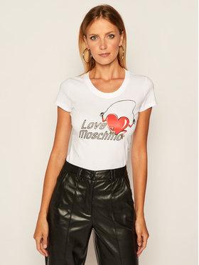 LOVE MOSCHINO LOVE MOSCHINO T-Shirt W4B195NE 1951 Bílá Slim Fit