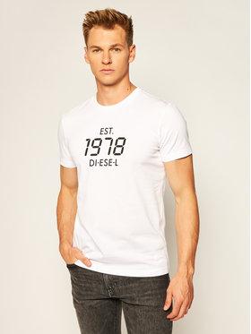 Diesel Diesel T-shirt T-Diegos A00297 0HAYU Blanc Regular Fit