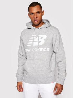 New Balance New Balance Bluza Essentials Stacked Logo Po MT03558 Szary Athletic Fit