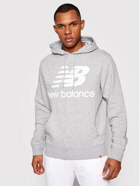 New Balance New Balance Majica dugih rukava Essentials Stacked Logo Po MT03558 Siva Athletic Fit