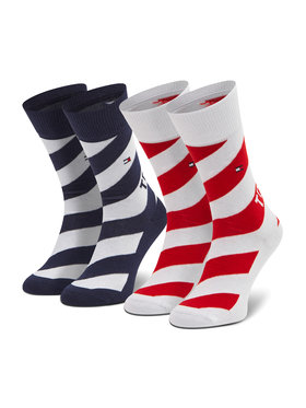 Tommy Hilfiger Tommy Hilfiger Set di 2 paia di calzini lunghi da bambini 100002307 Bianco