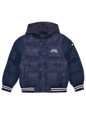 Tommy Hilfiger Tommy Hilfiger Geacă din puf Hooded Padded Quil Ted KB0KB05991 M Bleumarin Regular Fit