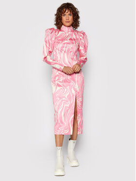 ROTATE ROTATE Koktejlové šaty Theresa Dress RT588 Ružová Regular Fit