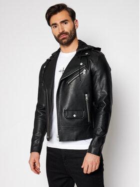 Calvin Klein Jeans Calvin Klein Jeans Kožená bunda J30J317320 Černá Regular Fit