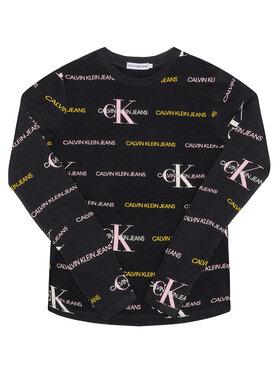 Calvin Klein Jeans Calvin Klein Jeans Bluse Mix Logo Allover IG0IG00560 Schwarz Slim Fit