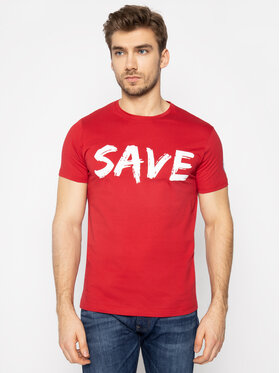 Save The Duck Save The Duck T-Shirt DT401M JESYX Czerwony Regular Fit