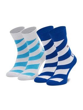 Tommy Hilfiger Tommy Hilfiger Set de 2 perechi de șosete lungi pentru copii 100002307 Albastru