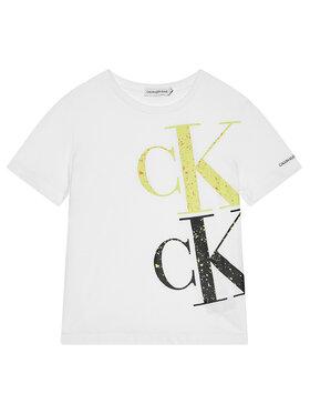 Calvin Klein Jeans Calvin Klein Jeans Tricou Paint Monogrem Logo IB0IB00843 Alb Regular Fit