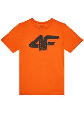 4F 4F T-Shirt HJL21-JTSM010A Pomarańczowy Regular Fit