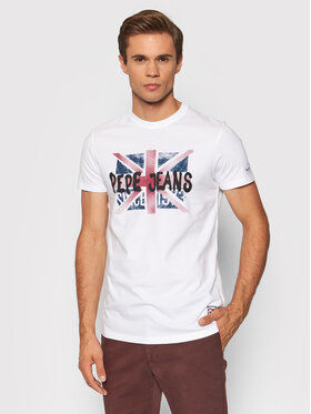 Pepe Jeans Pepe Jeans Тишърт Roland PM507858 Бял Slim Fit