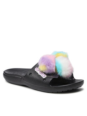 Crocs Crocs Шльопанці Classic Fur Sure Slide 207406 Чорний