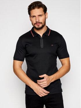 Calvin Klein Calvin Klein Тениска с яка и копчета Liquid Touch Zipper K10K106460 Черен Slim Fit