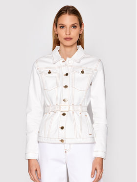 Pinko Pinko Veste en jean Julia 1J10MC Y652 Blanc Regular Fit