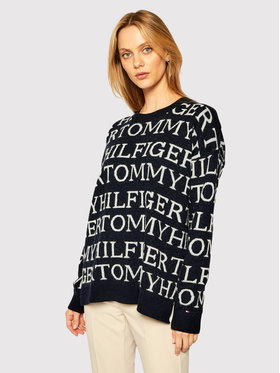 TOMMY HILFIGER TOMMY HILFIGER Pull Graphic All Over WW0WW28859 Bleu marine Relaxed Fit