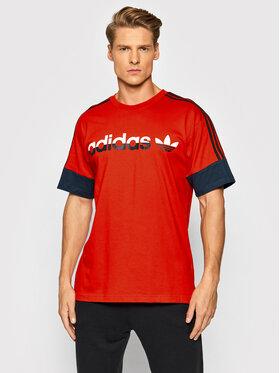 adidas adidas T-Shirt Sprt 3-Stripes Split H31274 Czerwony Regular Fit