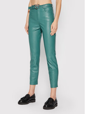 Pinko Pinko Панталони от имитация на кожа Susan 15 1G16WU 7105 Зелен Skinny Fit