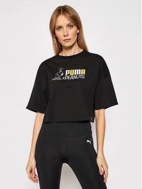 Puma Puma Marškinėliai PEANUTS W Tee 531158 Juoda Loose Fit