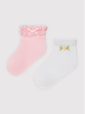 Mayoral Mayoral Sada 2 párů dětských nízkých ponožek 10011 Růžová