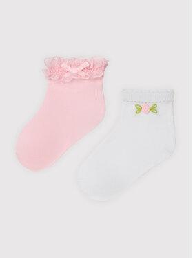 Mayoral Mayoral Σετ κοντές κάλτσες παιδικές 2 τεμαχίων 10011 Ροζ