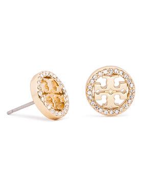 Tory Burch Tory Burch Обици Crystal Logo Circle Stud Earring 53422 Златист
