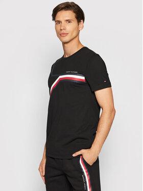 Tommy Hilfiger Tommy Hilfiger T-Shirt Split Chest Stripe MW0MW18724 Czarny Regular Fit
